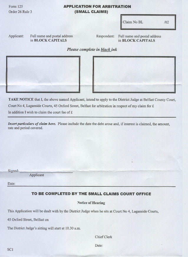 Northern Ireland Small Claims Form